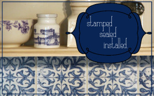 Stamped Tile Splash Back