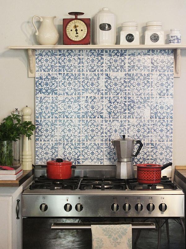 Stamped Tile Splash Back with a DIY Tile Stamp