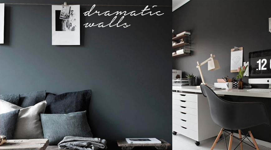 Decorate with dark wall colours: black, charcoal, green