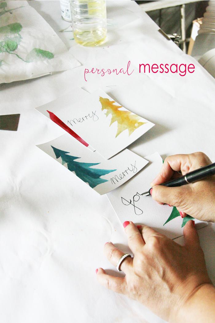 watercolour Christmas card DIY 5
