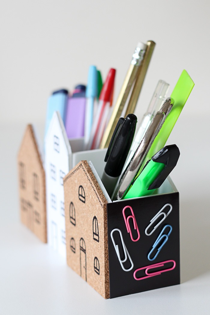 Cute DIY Desk Organiser with cork for notes and magnets to keep paperclips tidy.