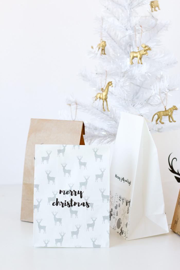 Printed Custom Gift Bags Christmas DIY