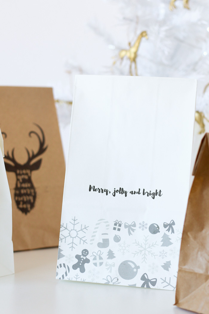 Print DIY custom gift bags onto any paper bags at home