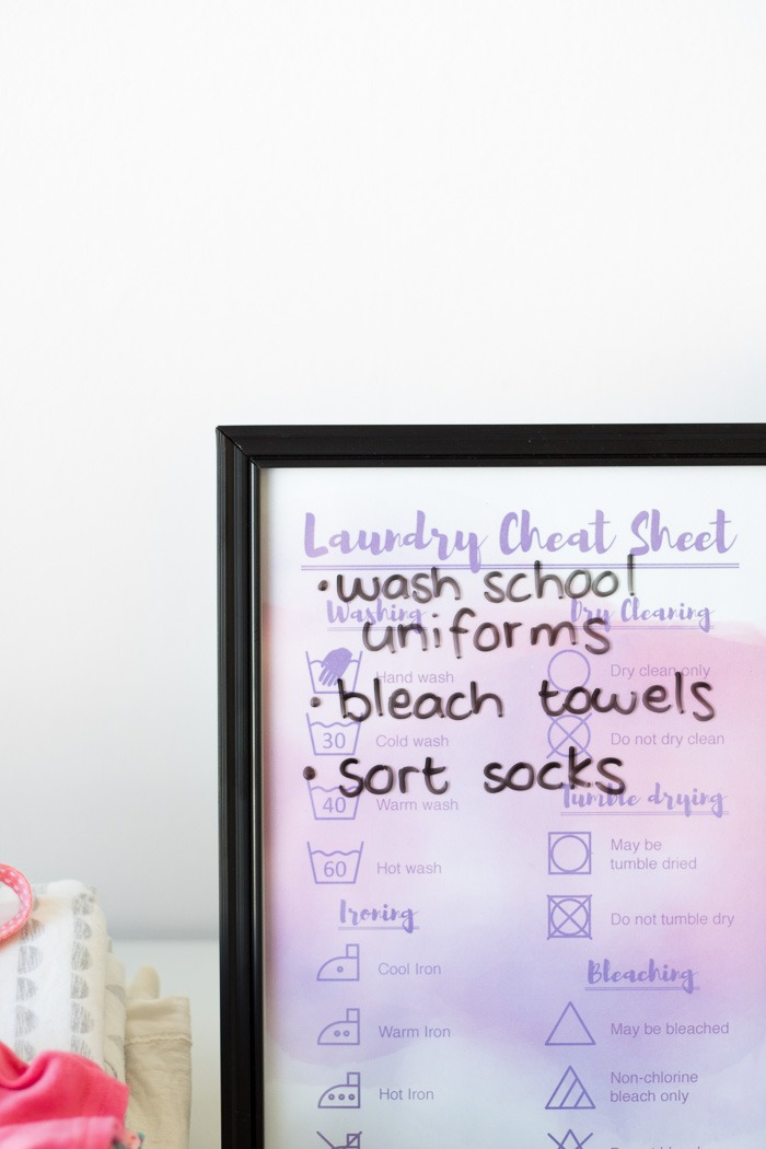 Laundry Organisation tips and free printable cheat sheet