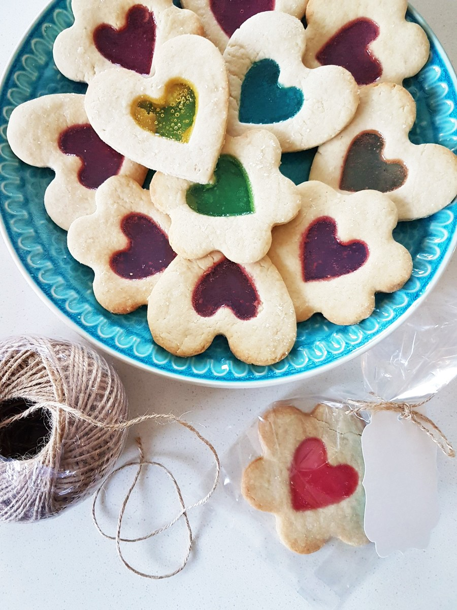 Sweet Little Stained Glass Heart Cookies For Valentine's Day