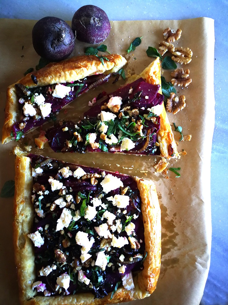 Deliciously Light and Fluffy Beetroot and Feta Galette