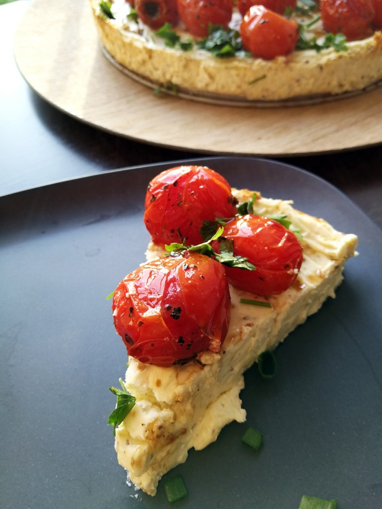 Slice of Baked Savoury Cheesecake with Cherry Tomatoes and Balsamic Vinegar - Homeology