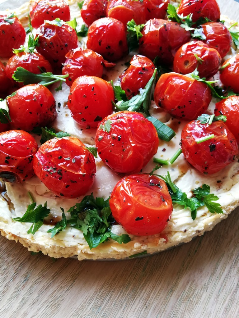 Baked Savoury Cheesecake with Cherry Tomatoes, Balsamic Vinegar and Parsley - Homeology