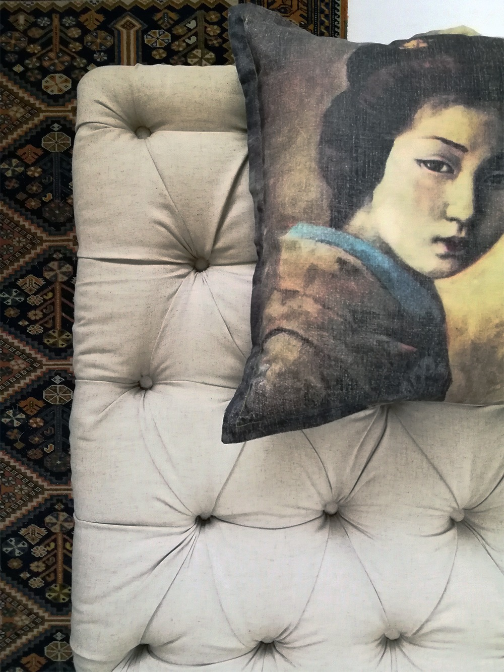 ottoman and Chinese lady cushion