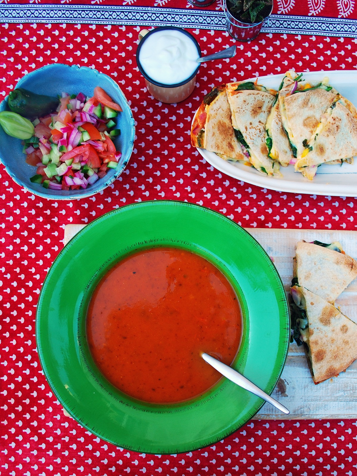 Mexican Tomato Soup with Cheesy Quesadilla Dippers
