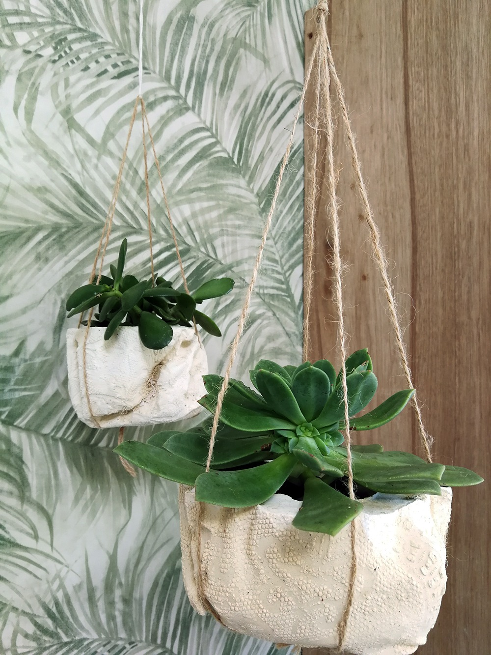 DIY Pretty Lace Cement Hanging Planters