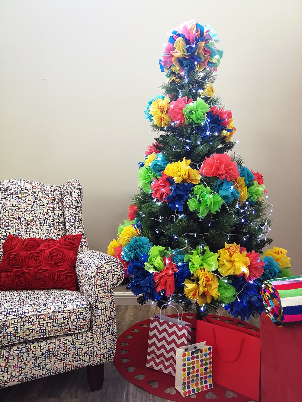 Plastic Christmas Tree.An Alternative Christmas Tree With Recycled Plastic Pom Poms