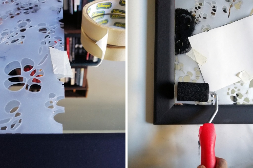 mirror makeover diy with a stencil pattern